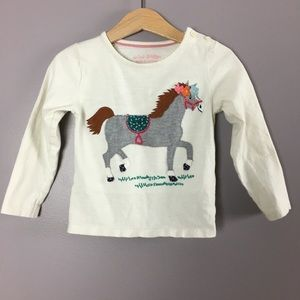 MINI BODEN horse appliqué long sleeve tee